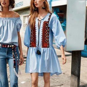 H&M Light Blue Cotton Embroidered Tunic / Dress